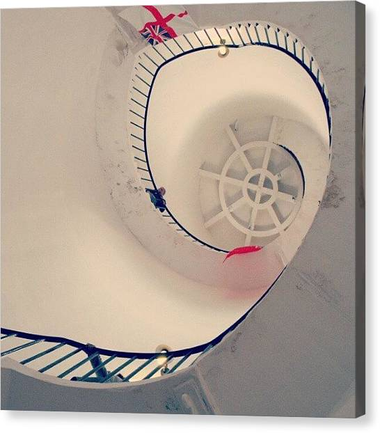 Spiral Canvas Print - Looking #up A #lighthouse In #norfolk by Alexandra Cook