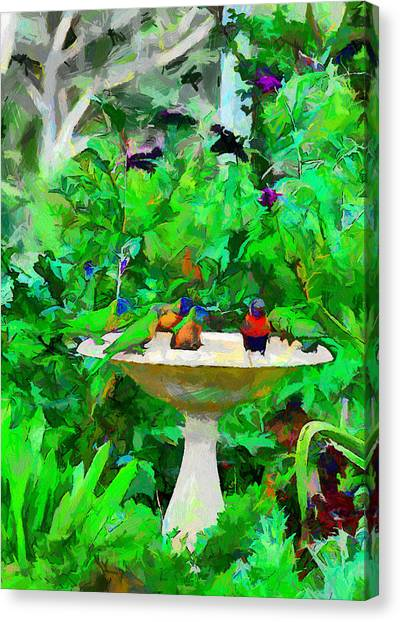 Lorikeets And Rosellas Canvas Print