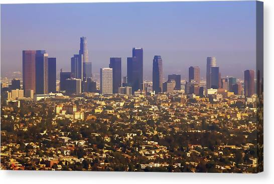 American Steel Canvas Print - Los Angeles From Above Cartoony by Ricky Barnard