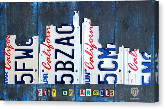 Los Angeles Angels Canvas Print - Los Angeles Skyline License Plate Art by Design Turnpike