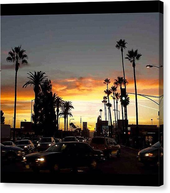 Palm Trees Sunsets Canvas Print - #losangeles #sunset #palm #trees by Ray Jay