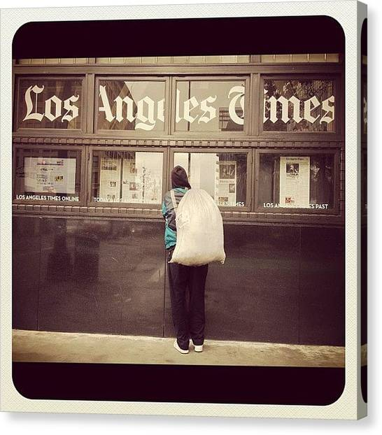 Bases Canvas Print - #losangelestimes #dtla #newspaper #base by Raul Roa