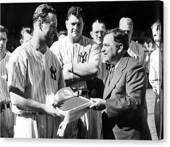 Lou Gehrig Canvas Print - Lou Gehrig Presented With A Scroll by Everett