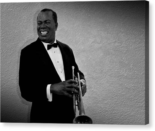 Trumpet Canvas Print - Louis Armstrong Bw by David Dehner