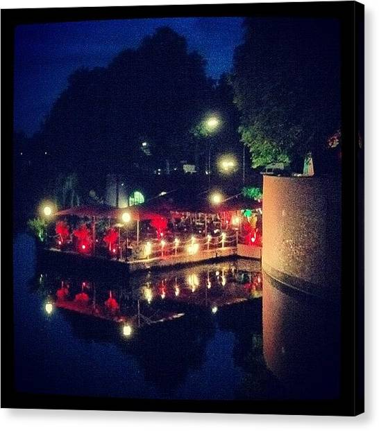 Lounge Canvas Print - Loungebar Am Kanal #summer #evening by Valnowy Photography