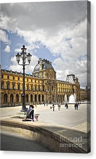 The Louvre Canvas Print - Louvre Museum by Elena Elisseeva