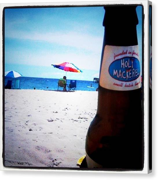 White Sand Canvas Print - #love #beer #holymackerel #beach by Emily W
