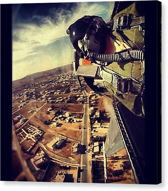 F16 Canvas Print - Low Flight Over A Small Town In Jordan by Wolf Stumpf
