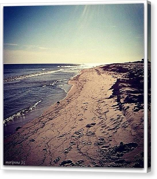 White Sand Canvas Print - Low Tide by Mari Posa