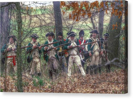 Loyalist Skirmishers Revolutionary War   Canvas Print by Randy Steele