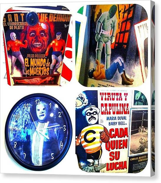 Wrestling Canvas Print - #lucha #diptic #vintage #posters #movie by T C