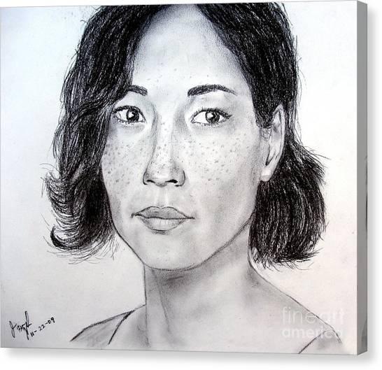 Lucy Liu Canvas Print - Lucy Liu Portrait by Jim Fitzpatrick