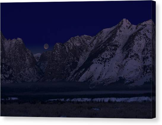 Lunar Eclipse Grand Teton National Park Canvas Print
