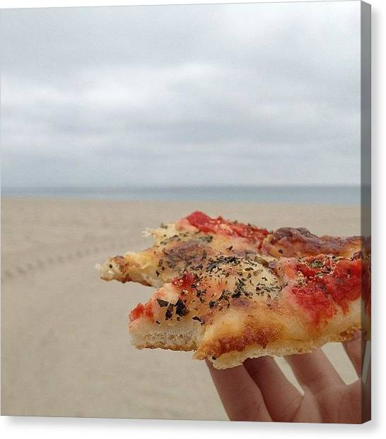 Meals Canvas Print - Lunch Break On Ze Beach. ☺ #pizza by Emily W