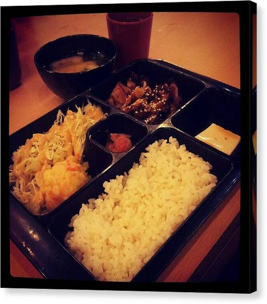 Potato Canvas Print - #lunch #terriyaki #chiken #rice #tofu by Bryan Thien