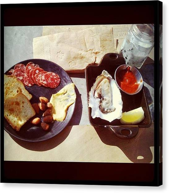 Oysters Canvas Print - #lunch Time! #oyster #venisonsalami by Phyllis Lau