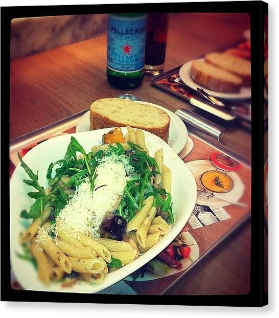 Meat Canvas Print - #lunch #vapiano #pasta #meat #food by Isabelle Guzman