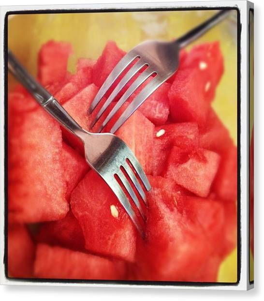 Watermelons Canvas Print - #lunch #watermelon With My #mommy <3 by Nena Alvarez