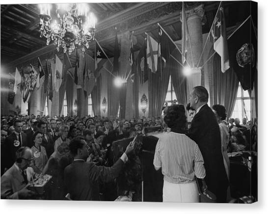 Lyndon Johnson Canvas Print - Lyndon Johnson Speaking To A Crowd by Everett