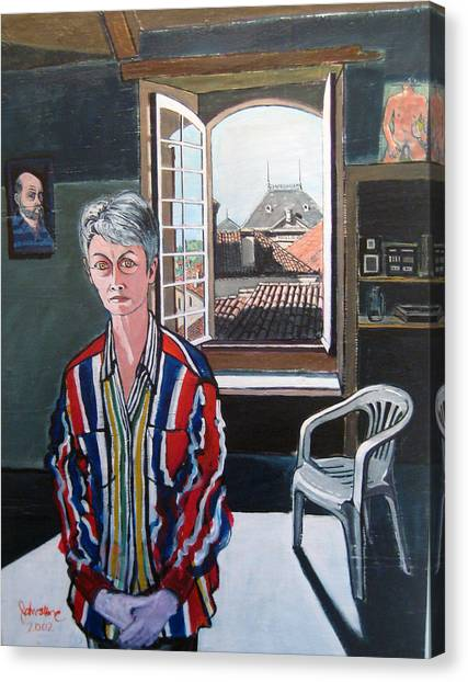 Lynne In My Studio Canvas Print by Ray Johnstone