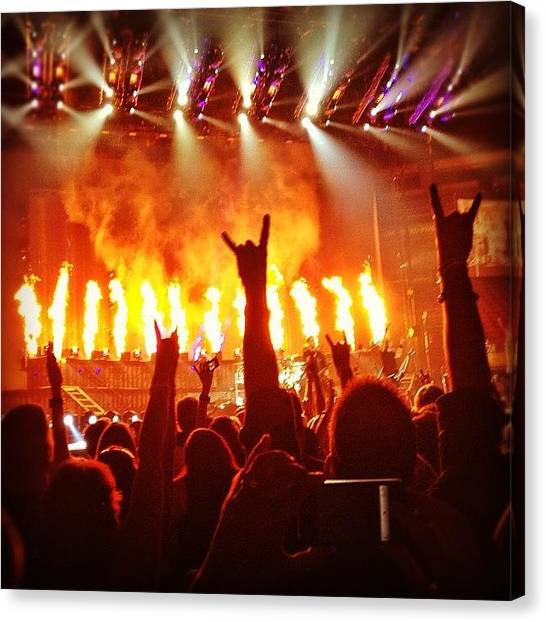 Bands Canvas Print - \m/ Rock Hands At Nickleback Concert by Amber Flowers