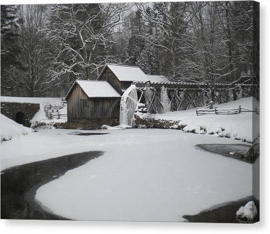 Mabry Mill On Ice Canvas Print