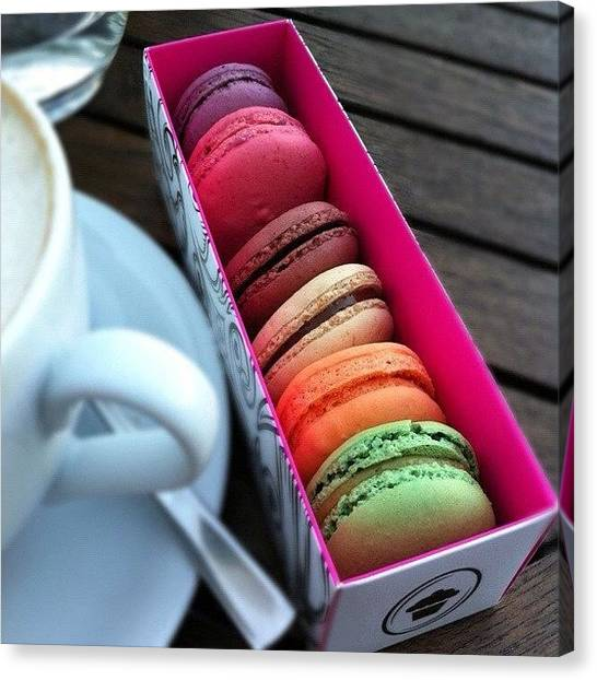 Tea Canvas Print - Macaron Lineup by Book Walk