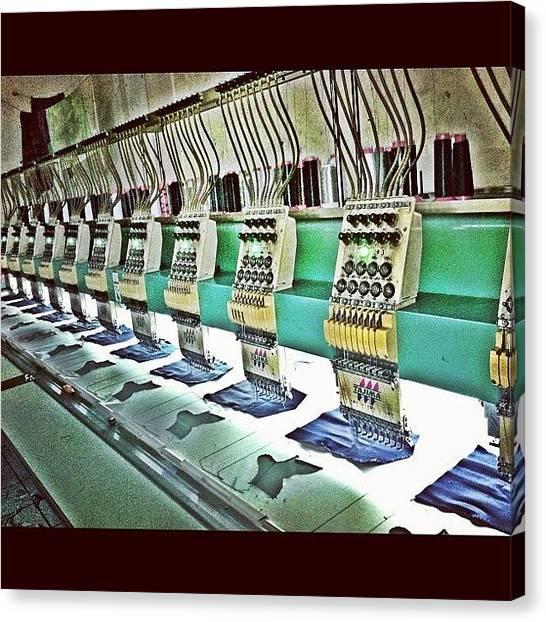Machinery Canvas Print - #machines #backpocket #denim #stitches by Remy Asmara