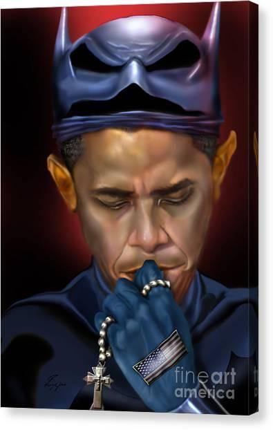 Democratic Politicians Canvas Print - Mad Men Series 1 Of 6 - President Obama The Dark Knight by Reggie Duffie