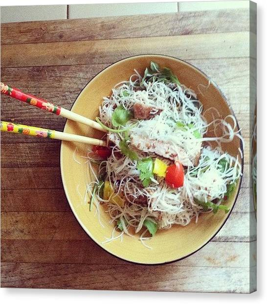 Asian Canvas Print - Made A Grilled Pork Rice Noodle Salad by Allison Faulkner