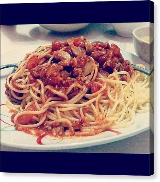 Spaghetti Canvas Print - Made By  . Looks Good And Taste Even by Jin Yean