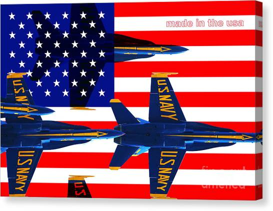 Made In The Usa . Blue Angels Canvas Print by Wingsdomain Art and Photography