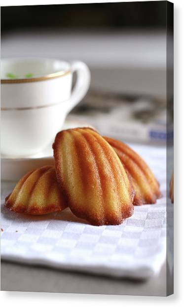 Madeleines With Tea Canvas Print by Lulu Durand Photography