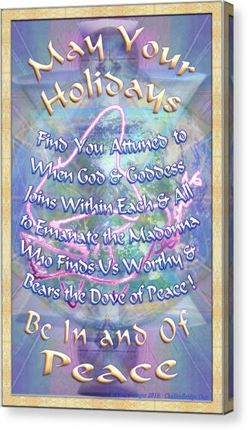 Madonna Dove And Chalice Vortex Over The World Holiday Art I With Text Canvas Print