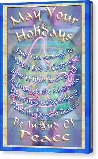 Madonna Dove And Chalice Vortex Over The World Holiday Art With Text Canvas Print