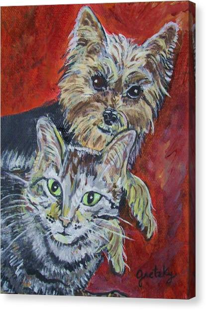 Maggie Mae And Buddy Canvas Print by Paintings by Gretzky