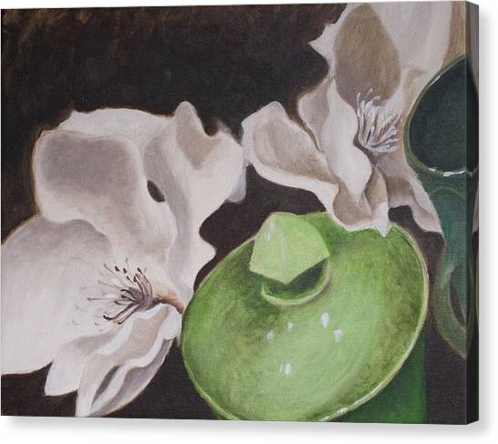 Magnolias With Green Sugar Bowl Canvas Print