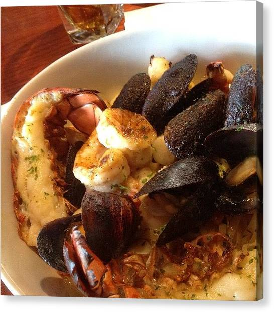 Seafood Canvas Print - Main Course! Linguini With #mussels by Jonathan Bouldin