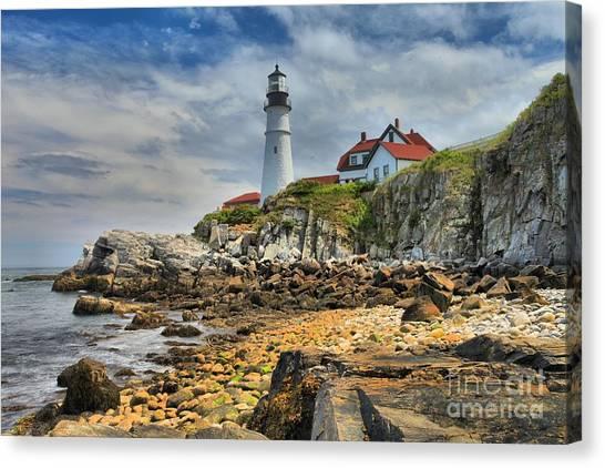 Portland Lighthouse Canvas Print - Maine Head Light by Adam Jewell