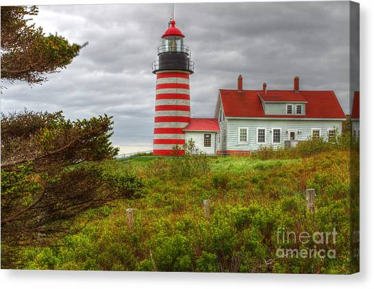 Maine Lighthouse At Lubec. Canvas Print by Rick Mann