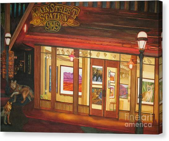Mainstreet Station Canvas Print by Vikki Wicks