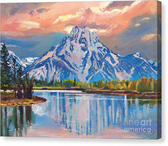 Majestic Blue Mountain Reflections Canvas Print by David Lloyd Glover