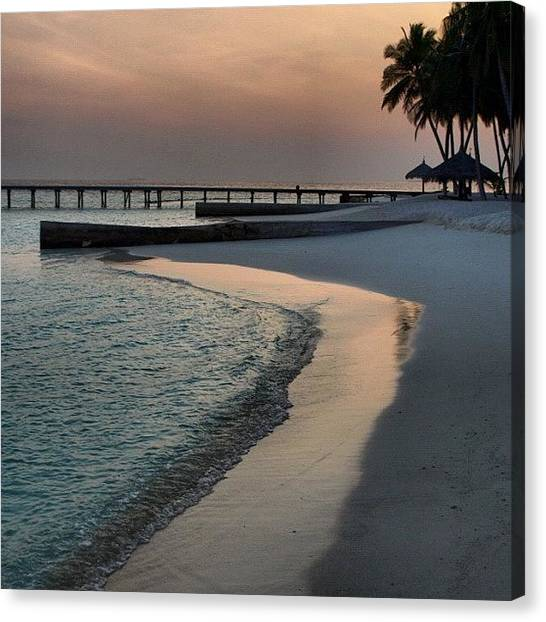 Beach Sunrises Canvas Print - #maldives #sunrise #sea #sand #beach by Jo Shaw