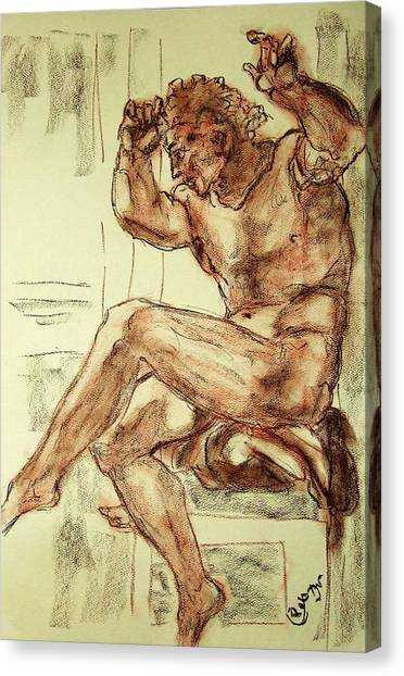 Male Nude Figure Drawing Sketch With Power Dynamics Struggle Angst Fear And Trepidation In Charcoal Canvas Print