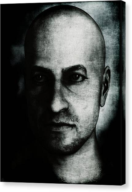Male Portrait - Black And White Canvas Print