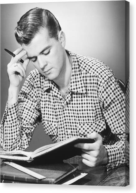 Male Student Reading, (b&w), Canvas Print by George Marks