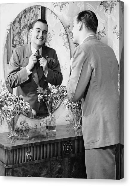 Man Checking Himself Out In Mirror Canvas Print by George Marks