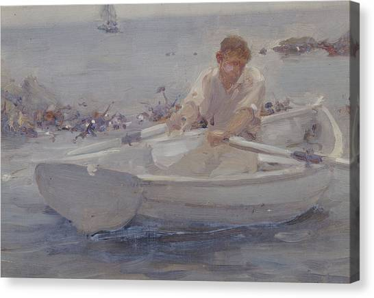 Dinghy Canvas Print - Man In A Rowing Boat by Henry Scott Tuke