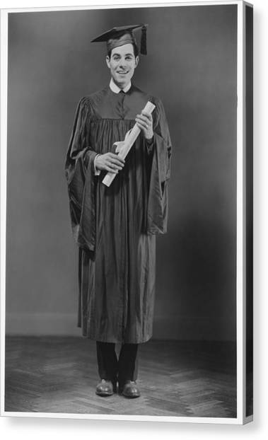 Man  In Graduation Gown Posing In Studio, (b&w), Portrait Canvas Print by George Marks