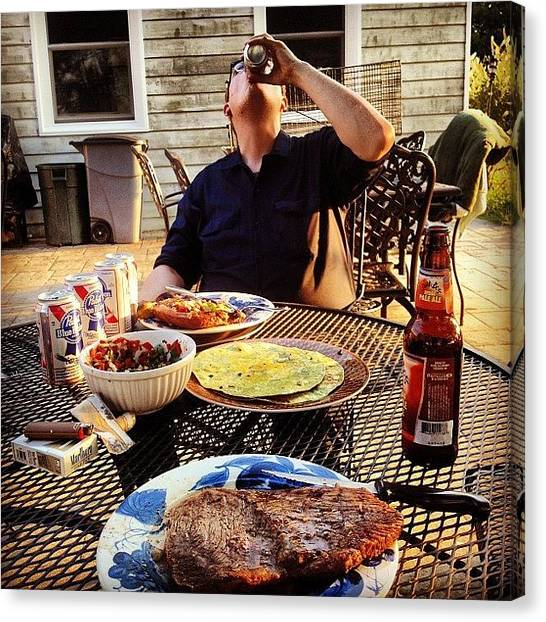 Meat Canvas Print - #man #meal. | #steak #cigs #beer by Hunter Graham